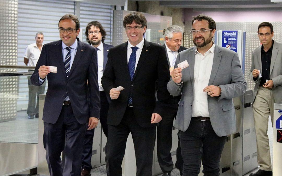Le président de la Generalitat de Catalogne inaugure le prolongement du réseau de chemin de fer FGC à Sabadell.