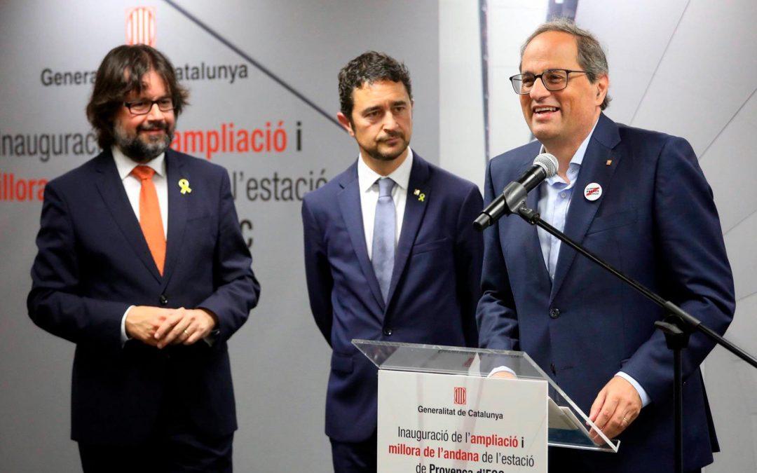 El president de la Generalitat de Catalunya, Quim Torra, inaugura l'eixamplament de l'estació de Provença